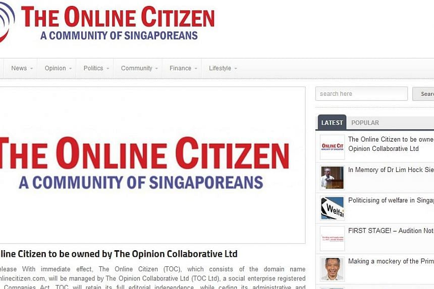The Online Citizen (TOC) will now be managed by a company set up by its editorial and business team, to make it easier to raise funds for the website.-- PHOTO: SCREENGRAB FROM WEBSITE