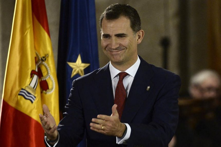 Spain's Crown Prince Felipe attends the Principe de Viana award at the San Salvador de Leyre monastery near Pamplona, northern Spain on June 4, 2014.Spain's new king-in-waiting, Prince Felipe, urged Spaniards to unite for a better future on Wed