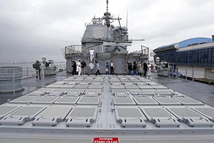 """View of the launching deck of U.S. cruiser Vella Gulf in the Black Sea port of Constanta on June 5, 2014.US President Barack Obama on Thursday, June 5, 2014, said he had """"expressed some concerns"""" to France about its sale of warships to Russia."""