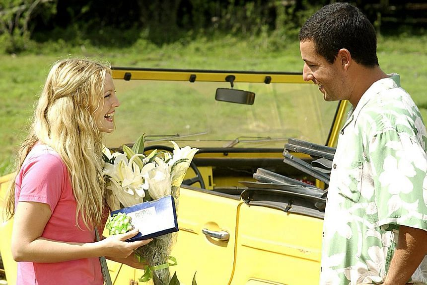 Drew Barrymore and Adam Sandler had sparkling on-screen chemistry in 50 First Dates (above) and The Wedding Singer. -- PHOTO: COLUMBIA TRISTAR