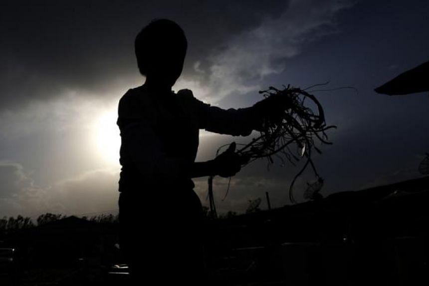A recycling worker holds wires which she collected from a dismantled microwave in the yard of her tenement house at Dongxiaokou village in Beijing on May 28, 2014. On the outskirts of Beijing lies Dongxiaokou village, a major centre for recycling old