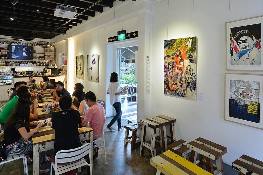 Hybrid art gallery and cafe Artistry is a platform for emerging artists. -- PHOTO: LIM YAOHUI FOR THE STRAITS TIMES