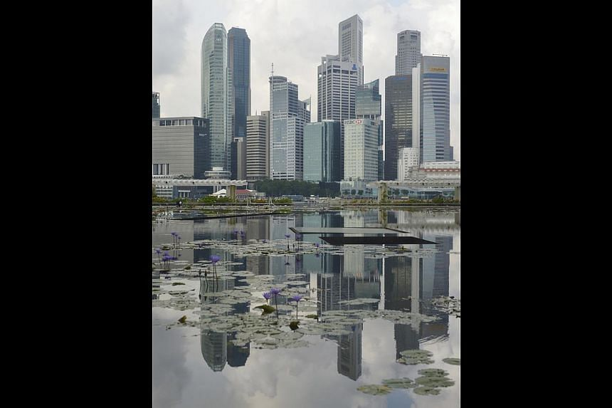 Singapore's skyline at Marina Bay Sands. The provision of good jobs, with opportunities for all, is crucial for social resilience. -- ST PHOTO: ASHLEIGH SIM