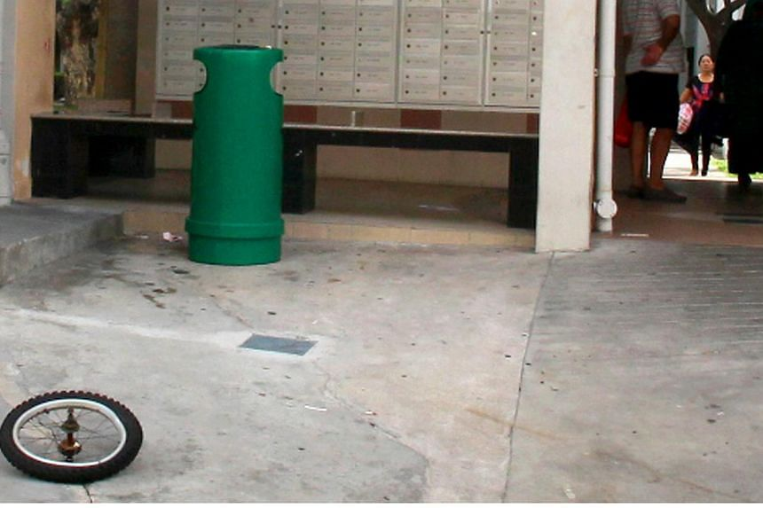 An elderly woman was hit by a bicycle tyre, which had apparently been thrown from a block of flats, while walking below Block 1, Eunos Crescent. On May 16, Madam Mahani Abdullah was on her way to play chess at a nearby senior citizens' centre when th