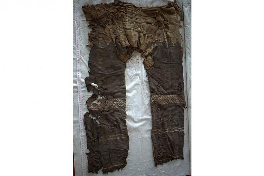 Two pairs of 3,300-year-old trousers found in China's far western Xinjiang region may be the world's oldest, state-media reported on Friday, June 6, 2014. -- PHOTO: MAYKE WAGNER/GERMAN ARCHAEOLOGICAL INSTITUTE