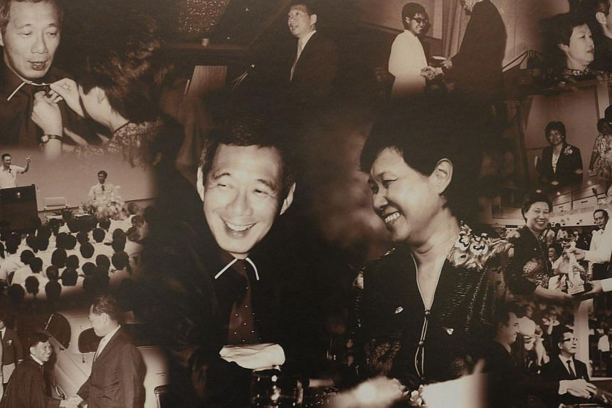 A collage given to Prime Minister Lee Hsien Loong made by National Junior College alumnus Quinn Lum, who graduated in 2011. It features pictures of Mr Lee and wife Ho Ching, both ex-NJC students, during their school days and when they came back as gu