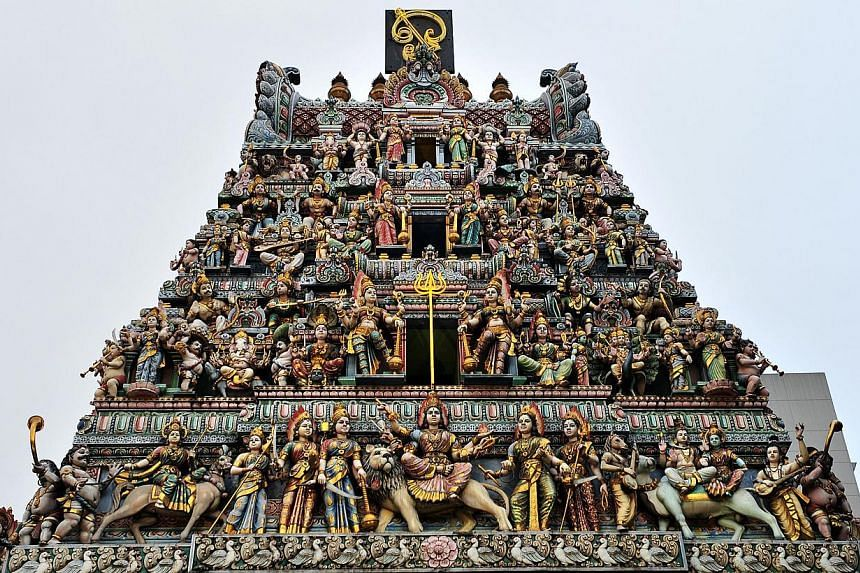 The pagoda of the Sri Veeramakaliamman Temple on Serangoon Road in 2011. The temple is one of75 heritage buildings proposed for conservation under the Draft Master Plan 2013 which were gazetted today, after the Urban Redevelopment Authority's c
