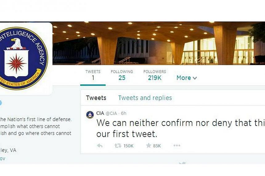 The secretive US spy agency joined the world of social media on Friday, and quickly had the Twitterverse talking. -- PHOTO: SCREENGRAB FROM CIA/TWITTER