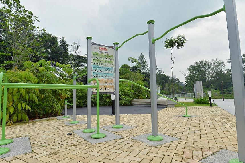 The Fitness Corner at the new Jurong Eco-Garden on June 4, 2014. -- ST PHOTO: LIM YAOHUI