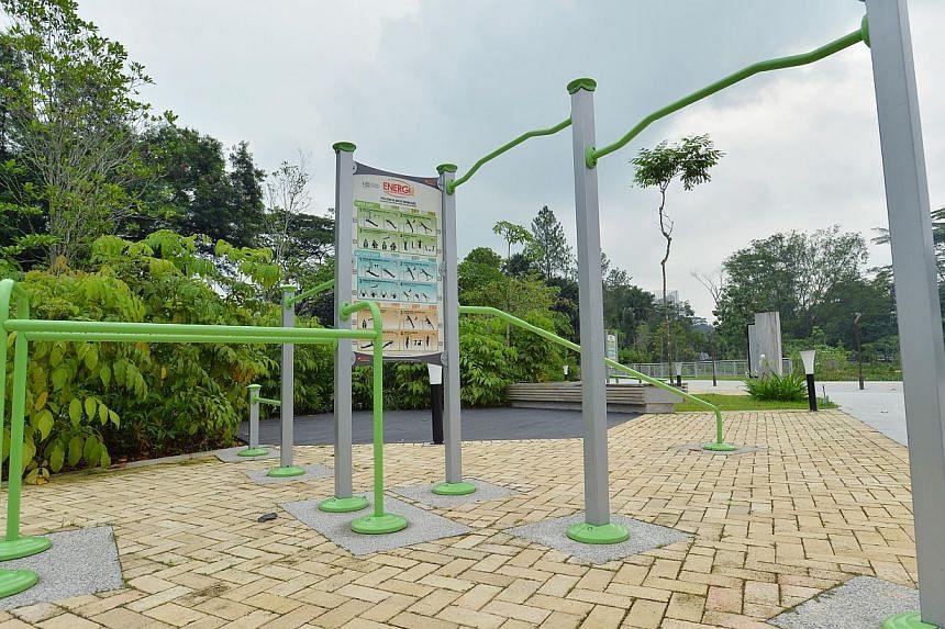 The Fitness Cornerat the new Jurong Eco-Garden on June 4, 2014. -- ST PHOTO: LIM YAOHUI
