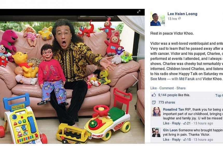 Prime Minister Lee Hsien Loong's tribute to Victor Khoo which he posted on his Facebook page. PHOTO: SCREENGRAB OF LEE HSIEN LOONG'S FACEBOOK