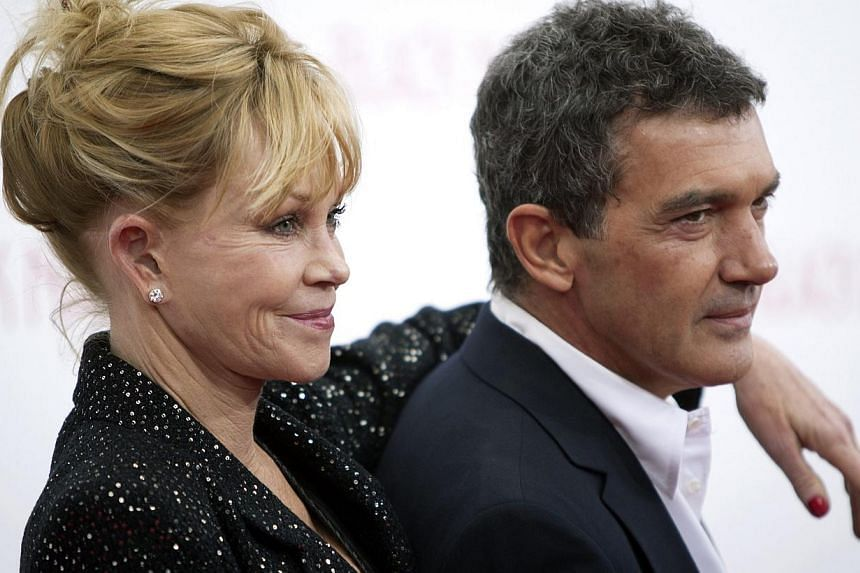 Antonio Banderas and Melanie Griffith arrive for the premiere of the movie Black Nativity in New York on Nov 18, 2013.-- PHOTO: REUTERS