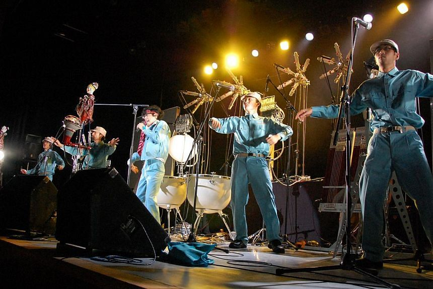 """Art-music group Maywa Denki call themselves """"parallel-world electricians"""" and invent their own musical instruments. -- PHOTO: ESPLANADE"""