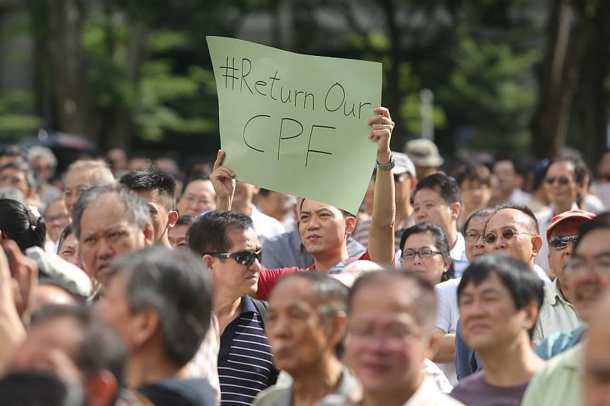 """Blogger Han Hui Hui (not pictured) organised a protest called """"Return Our CPF"""" at Hong Lim Park on June 7, which saw nine speakers taking to the stage. -- ST PHOTO:ONG WEE JIN"""