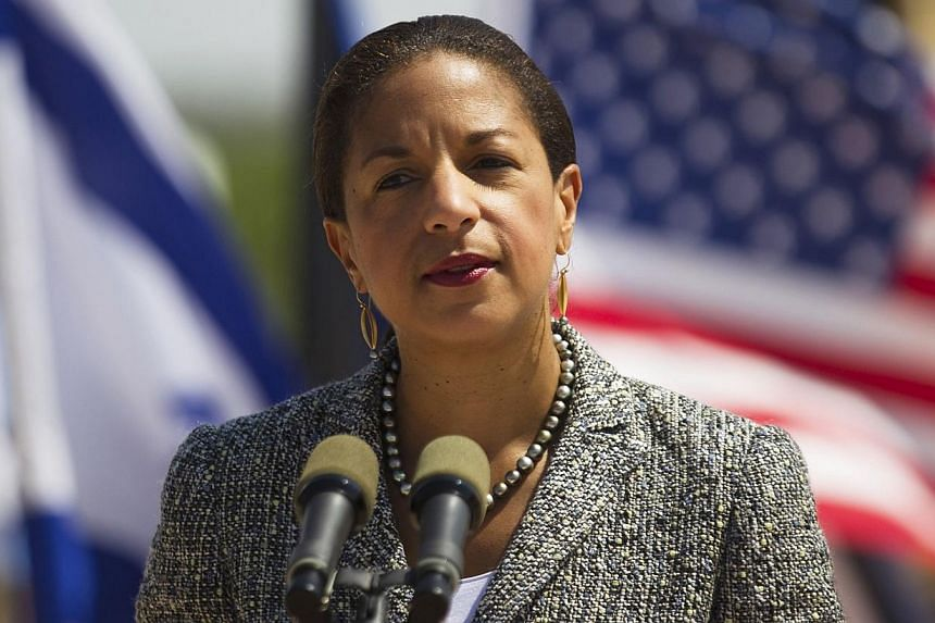 US National Security Adviser Susan Rice addresses the media during her visit to the Israeli Air Force (IAF) Palmachim base, south of Tel Aviv on May 9, 2014. -- PHOTO: REUTERS