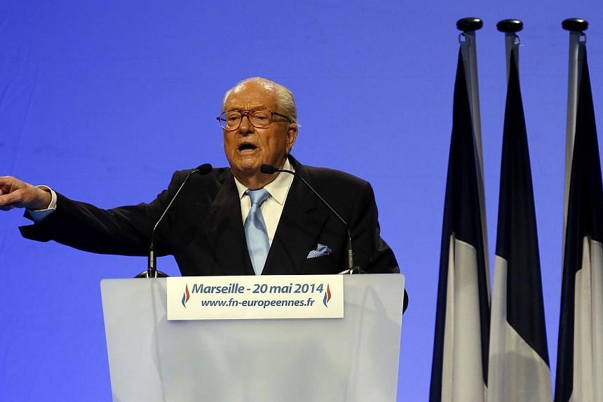 Jean-Marie Le Pen, France's National Front political party founder delivers a speech during a campaign rally before the European Parliament elections in Marseille, May 20, 2014.Anti-racism campaigners reacted with outrage on Sunday to an appare