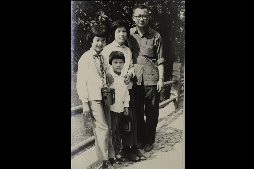 Six-year-old Helina Chan (second from left) in Shanghai with her older sister (far left), mother and accountant father. -- PHOTO: COURTESY OF HELINA CHAN