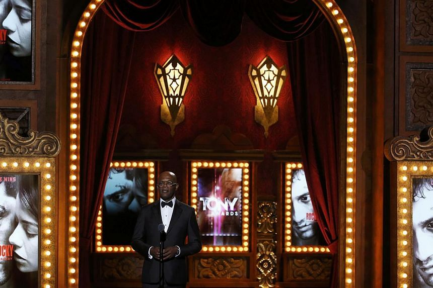 Actor Samuel L. Jackson presents a performance by the cast of Rocky during the American Theatre Wing's 68th annual Tony Awards at Radio City Music Hall in New York, on June 8, 2014. -- PHOTO: REUTERS