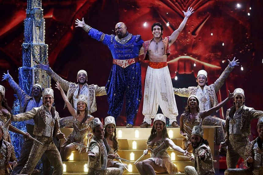 The cast of Aladdin performs Friend Like Me during the American Theatre Wing's 68th annual Tony Awards at Radio City Music Hall in New York, on June 8, 2014. -- PHOTO: REUTERS