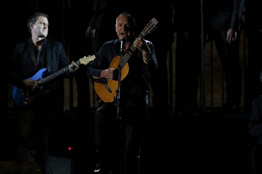 Musician Sting performs The Last Ship onstage during the American Theatre Wing's 68th annual Tony Awards at Radio City Music Hall in New York, on June 8, 2014. -- PHOTO: REUTERS