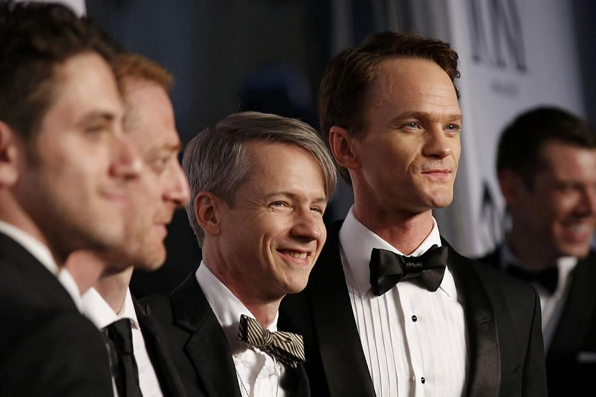 Actor Neil Patrick Harris (right) and the cast from Hedwig And The Angry Inch arrive for the American Theatre Wing's 68th annual Tony Awards at Radio City Music Hall in New York, on June 8, 2014. -- PHOTO: REUTERS
