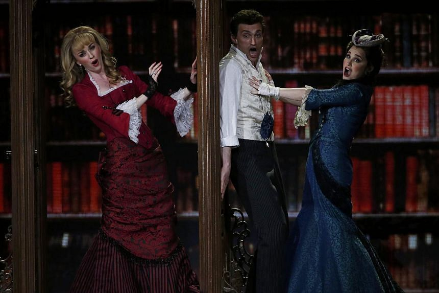 The cast of A Gentleman's Guide To Love & Murder performs during the American Theatre Wing's 68th annual Tony Awards at Radio City Music Hall in New York, on June 8, 2014. -- PHOTO: REUTERS