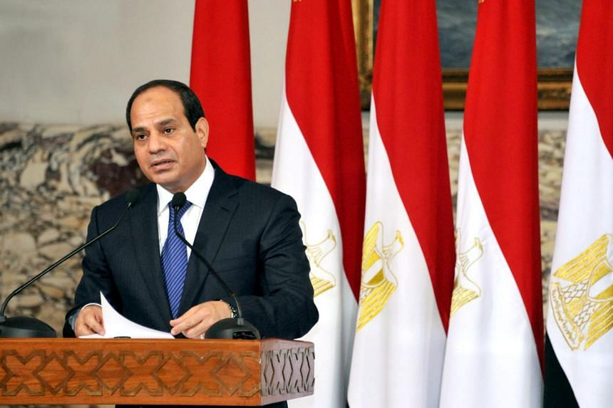 President-elect Abdel Fattah al-Sisi talks during his ceremony to be sworn in as president of Egypt, at the presidential palace in Cairo, on June 8, 2014 in this picture provided by the Egyptian Presidency.Egypt's interim prime minister Ibrahim