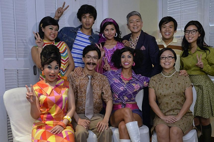 It is a Singapore Idol reunion of sorts between ex-judge Dick Lee and Idol alumni Tabitha Nauser and Joakim Gomez in the upcoming revival of 70s musical comedy Hotpants. -- ST PHOTO: DESMOND FOO