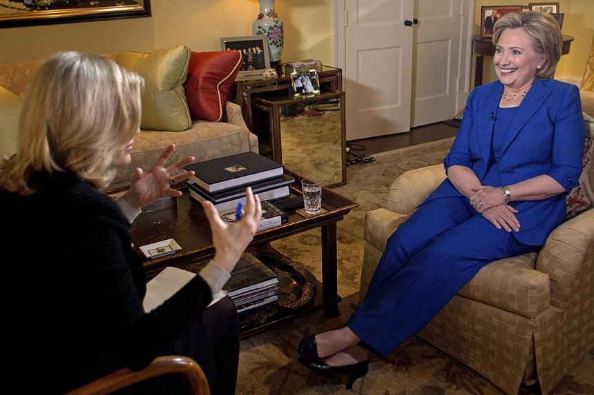 Hillary Clinton talks with ABC News anchor Diane Sawyer for her first television interview in conjunction with the release of her new book titled Hard Choices in this handout photo taken in Washington on June 5, 2014. -- PHOTO: REUTERS