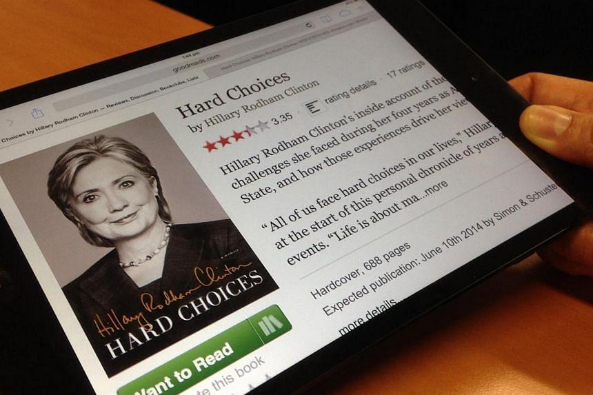 The Straits Times take a sneak peek atHillary Clinton's memoir, Hard Choices, which hits the bookstores on Tuesday. -- ST PHOTO