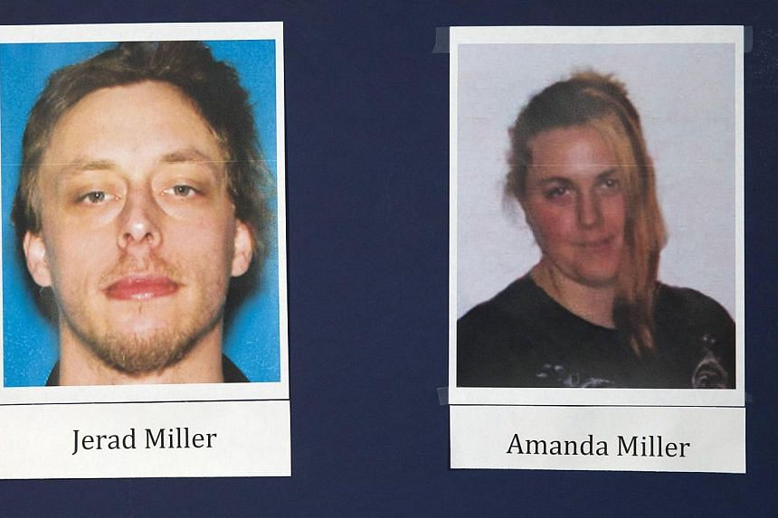 Photos of shooting suspects Jerad and Amanda Miller are displayed during a news conference at Metro Police headquarters in Las Vegas on June 9, 2014. -- PHOTO: REUTERS