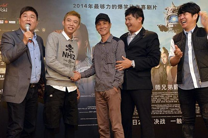 From left: Director Jack Neo, actor Wang Weiliang, getai veteran Wang Lei, actor Chen Tianwen and veteran singer-songwriter Roy Loi. An uneventful press conference on Tuesday, June 10, 2014, to promote Jack Neo's second lion dance-themed mo