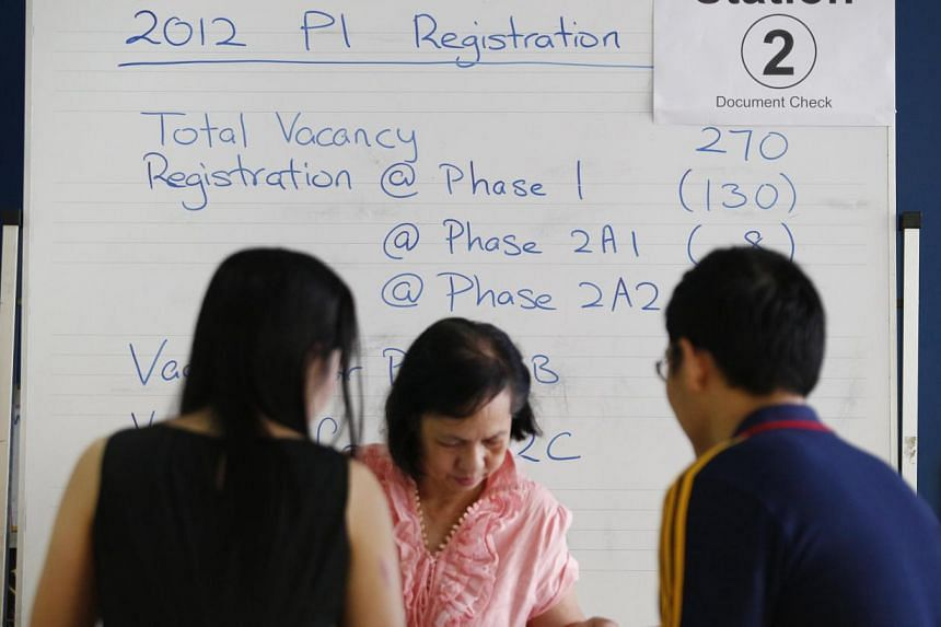 An administrative staff member at South View Primary School looks through documents submitted by parents on July 19, 2012.-- PHOTO: ST FILE