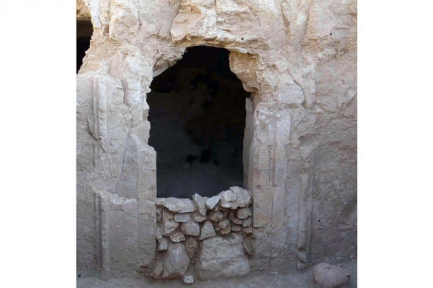 A handout picture released on June 9, 2014, by Egypt's Ministry of Antiquities shows the inner chambers of a more than 4,000 year old pharaonic tomb discovered by Spanish archeologists and believed to belong to an important leader from the eleventh