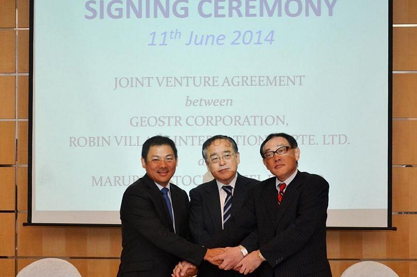 Tiong Seng chief executivePek Lian Guan, Geostr Corporation presidentMinori Kuriyama and Marubeni-Itochu Steel managing directorYoshinori Kubo.Locally-listed Tiong Seng Holdings has joined forces with two Japanese companies to