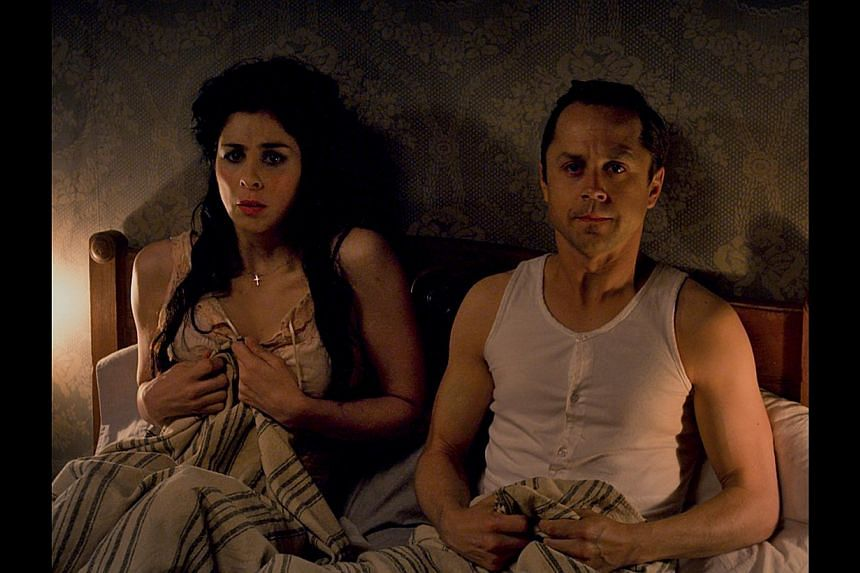 The talent of actor Liam Neeson (left), who plays a notorious outlaw, is wasted in A Million Ways To Die In The West, which also stars Sarah Silverman and Giovanni Ribisi (both below).