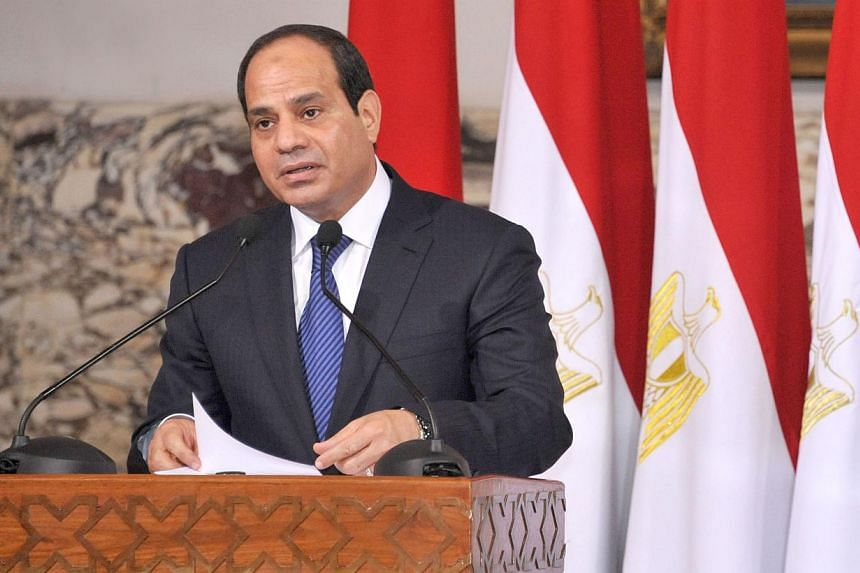 President-elect Abdel Fattah al-Sisi talks during his ceremony to be sworn in as president of Egypt, at the presidential palace in Cairo, on June 8, 2014 in this picture provided by the Egyptian Presidency. -- PHOTO: REUTERS