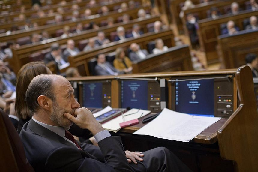Socialist Party (PSOE) member Alfredo Perez Rubalcaba sits in Spain's lower house of parliament on June 11, 2014, during a session to vote on the bill allowing the abdication of King Juan Carlos with the senate following suite on June 17.Spanis