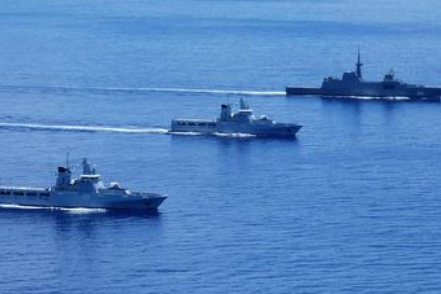Republic of Singapore Navy's (RSN) RSS Intrepid (far right) and Royal Brunei Navy's (RBN) KDB Darulaman (left) and KDB Darussalam (centre) sailing in formation during Exercise Pelican 2014.The Singapore and Brunei navies have wrapped up a w