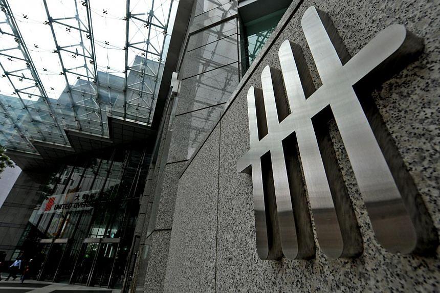 United Overseas Bank (UOB) logo at UOB Plaza One in Singapore. -- ST PHOTO: STEPHANIE YEOW
