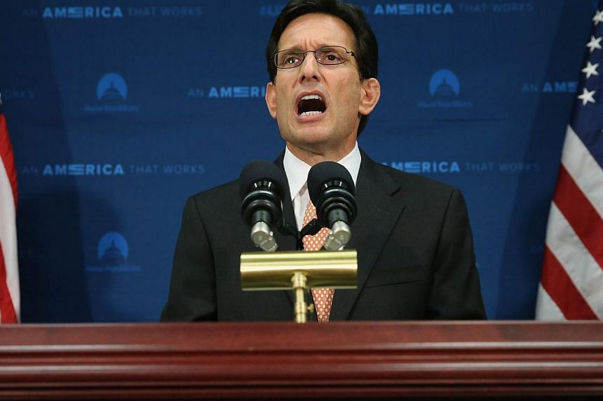 House Majority Leader Eric Cantor talks to the media about his defeat last night, during a news conference at the US Capitol, in Washington, DC onJune 11, 2014. -- PHOTO: AFP
