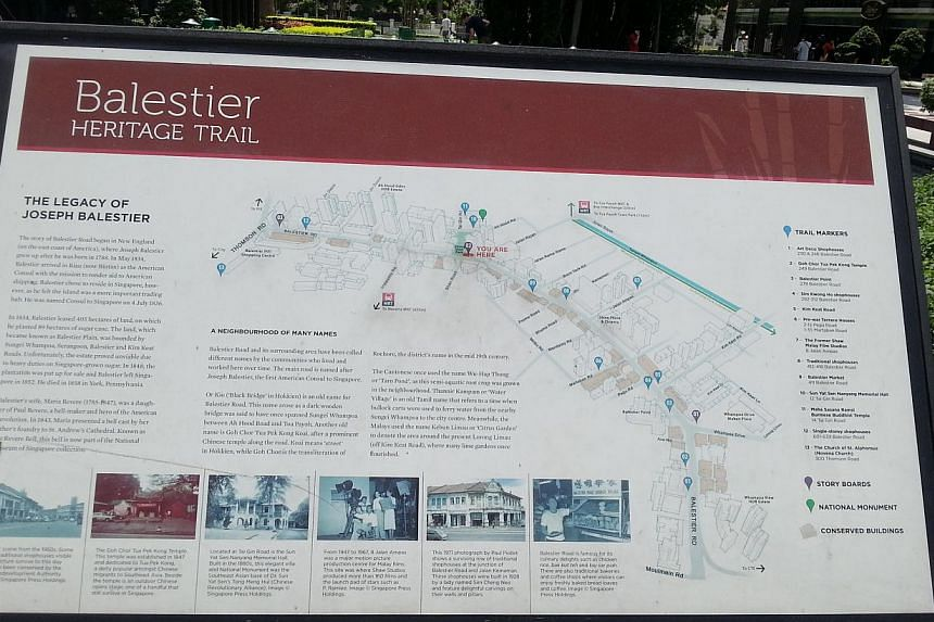 A sign detailing the heritage trail inBalestier. Some 140 participants took part ina heritage race in Balestier on June 12, 2014.-- ST PHOTO: AUDREY TAN