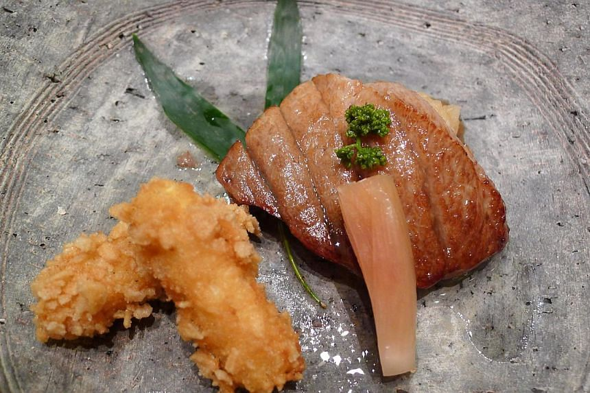 Excellent dishes included the fatty tuna steak with white asparagus at Shinji (above), steamed yuba topped with uni and ikura at Yoshiyuki and a delightful scattered rice from Tenshin. Many chefs also sourced for ingredients they do not normally use,