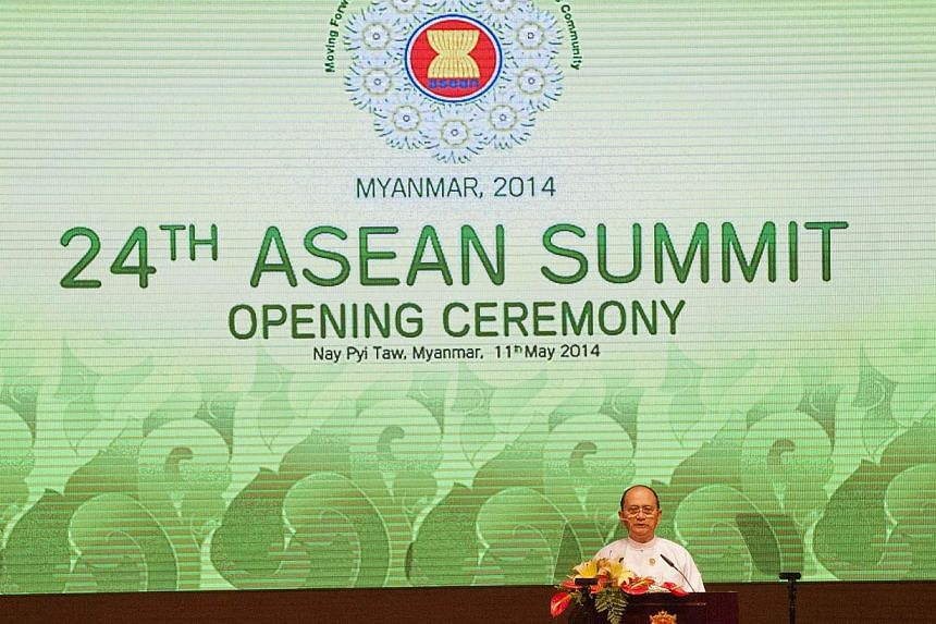 Myanmar President Thein Sein delivering a speech at the opening ceremony of the 24th Asean Summit at the Myanmar International Convention Centre in Naypyidaw on May 11, 2014. -- FILE PHOTO: AFP