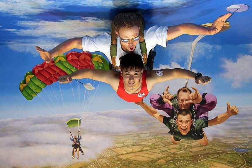 Skydiving at the Trick Eye Museum at Resorts World Sentosa's waterfront. -- ST PHOTO: NEO XIAOBIN