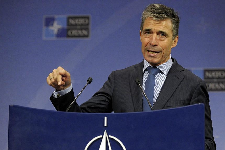 Nato Secretary General Anders Fogh Rasmussen addresses a news conference during a Natodefence ministers meeting at the Alliance headquarters in Brussels on June 4, 2014.Reports of pro-Russian groups in eastern Ukraine acquiring heavy weap