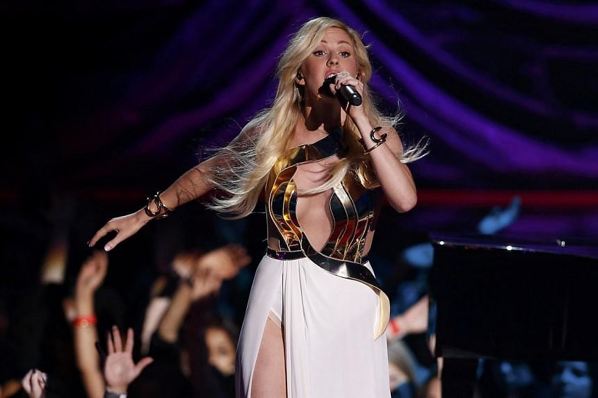 Ellie Goulding performs on stage at the 2014 MTV Movie Awards in Los Angeles, California on April 13, 2014. -- PHOTO: REUTERS