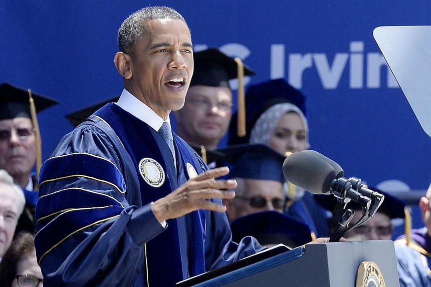 President Barack Obama speaks at UC Irvine commencement ceremony at Angel Stadium of Anaheim in Anaheim, California on June 14, 2014. -- PHOTO: AFP
