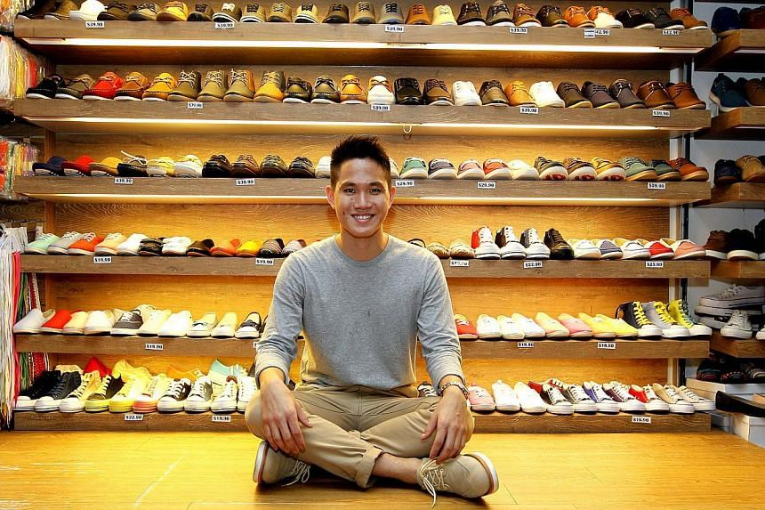 Mr Victor Shi (above), owner of men's shoes and clothing company Jetsetters, has three shops in Bugis Street (left) and recently started selling products on the online store run by Bugis Street Online, a subsidiary of the Bugis Street management.