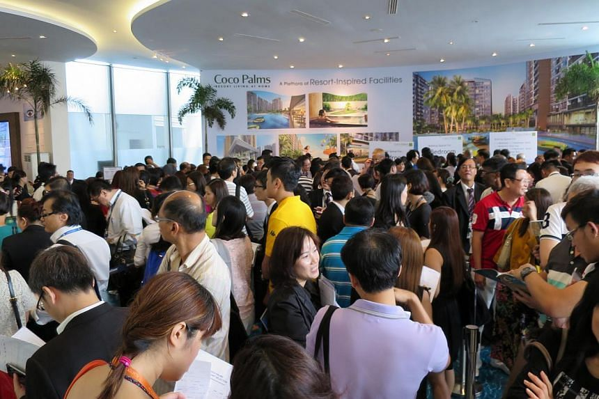 Potential buyers at the launch of the Coco Palms condominium at Pasir Ris on May 17, 2014. -- PHOTO: CITY DEVELOPMENTS LIMITED